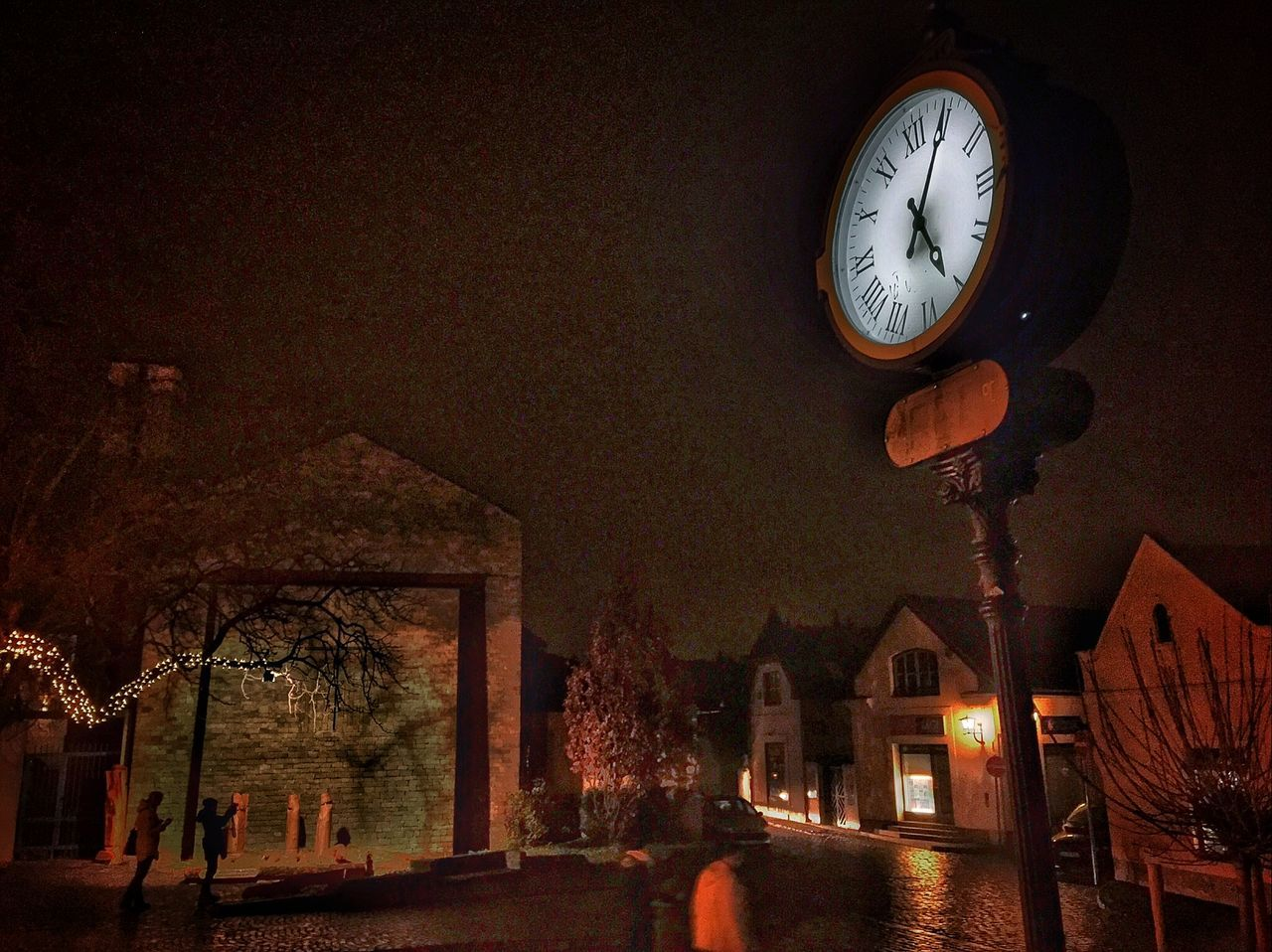 clock, time, night, illuminated, built structure, architecture, no people, building exterior, low angle view, indoors, clock face, minute hand