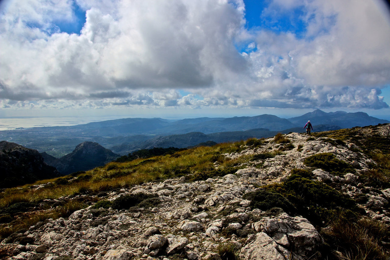 Adventure Beauty In Nature Cloud - Sky Day Hiking Landscape Majorca Mallorca Mountain Nature One Person Outdoors Real People Scenics Sky SPAIN Tranquil Scene Tranquility Trekking Water