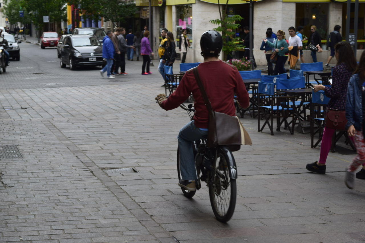 Bicycle City City Street Day Men Mode Of Transport People Real People Road Street Transportation