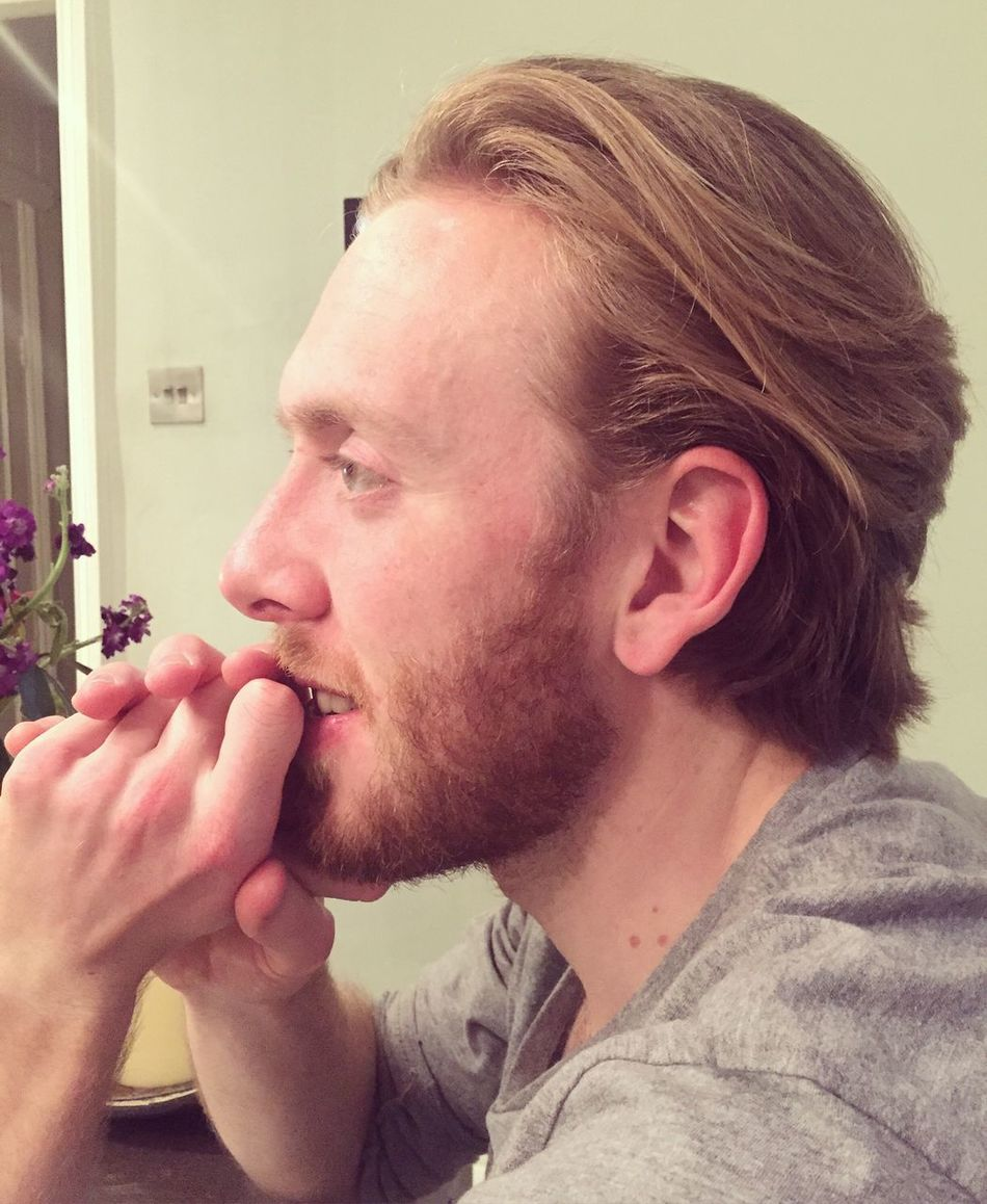 Man Beard Side View Side Portrait Haircut Handsome Everyday Emotion Thinking
