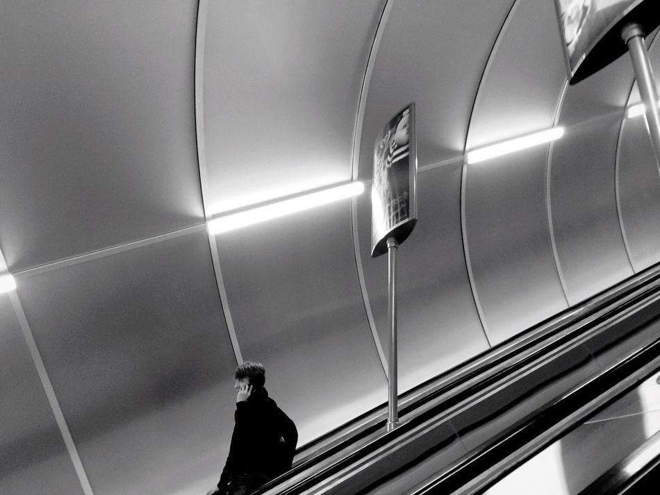 Subway Blackandwhite Black And White Monochrome Black & White Alone One People Watching