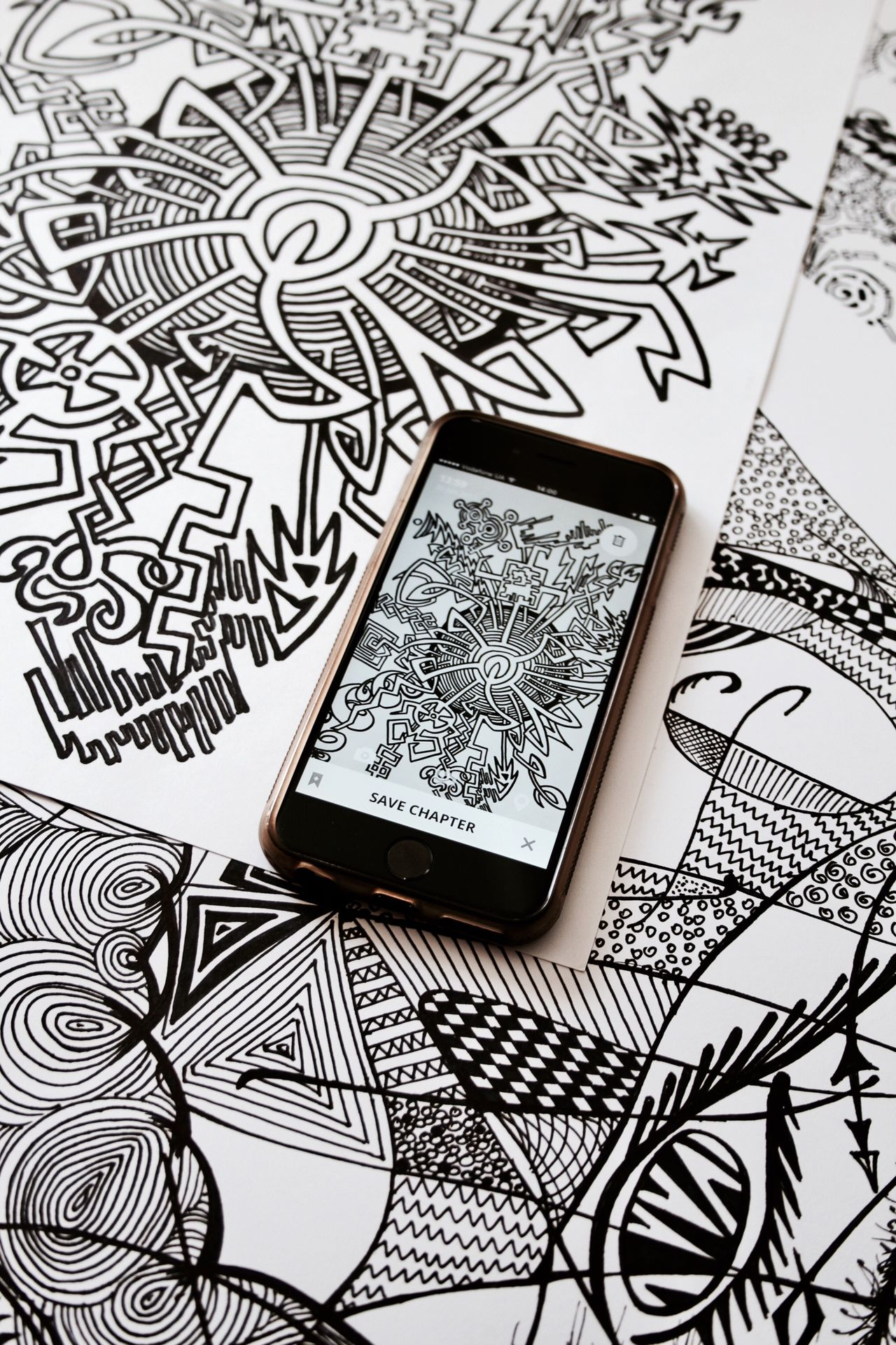 Black and white style Sketch Pattern Paper No People Drawing - Art Product Close-up Indoors  EyeEmNewHere Blackandwhite Mobile Phone Mobile