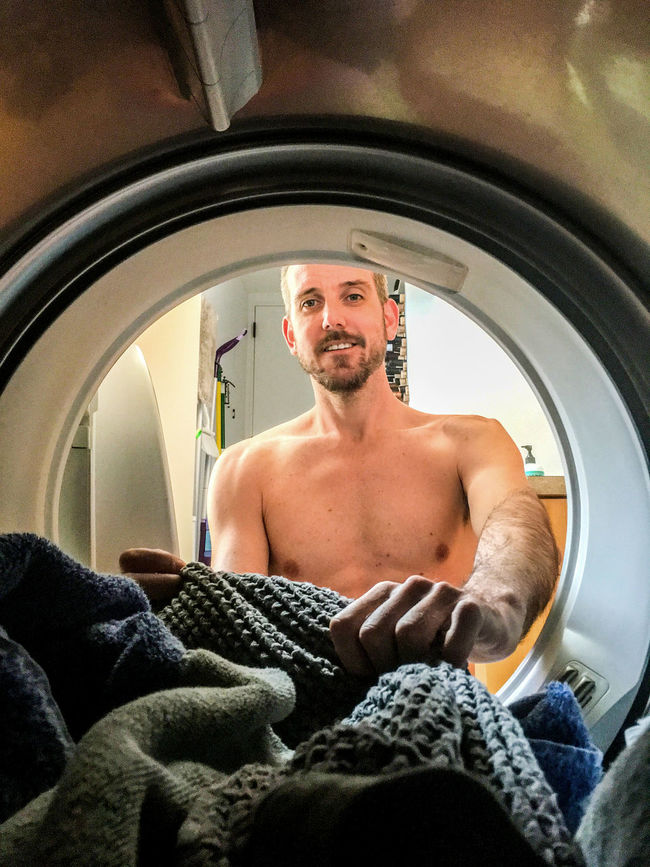 From inside the dryer Adult Adults Only Chores Close-up Day Indoors  Laundry Lifestyles Man Men Muscles One Man Only One Person Only Men People Point Of View