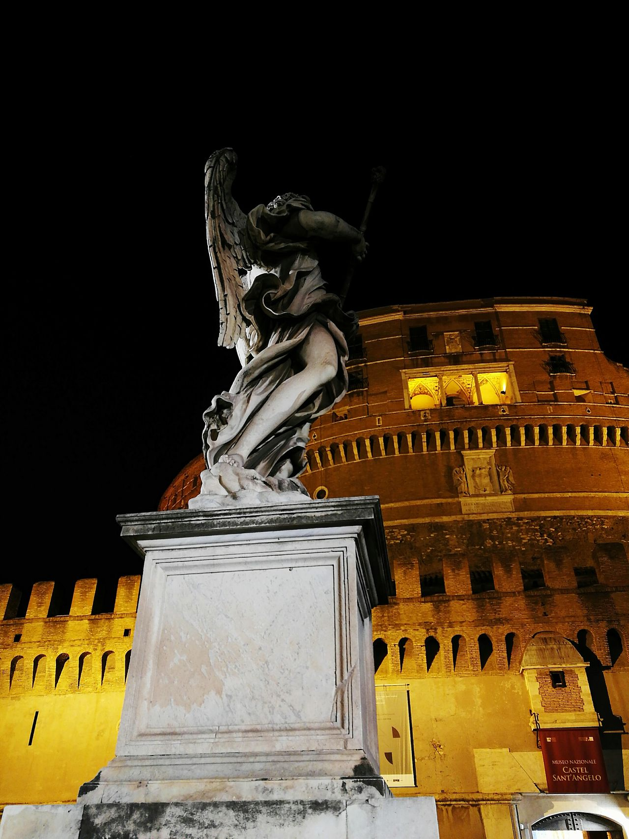 Rome Italy🇮🇹 Castel Sant'Angelo Rome By Night Hometown Huawei P9 Plus Statue Architecture Cultures Night City No People Outdoors Gold Colored Illuminated