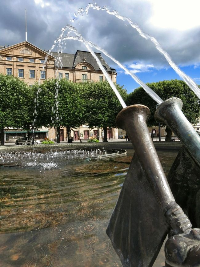 Water Fountain Plaza Architecture Skyporn