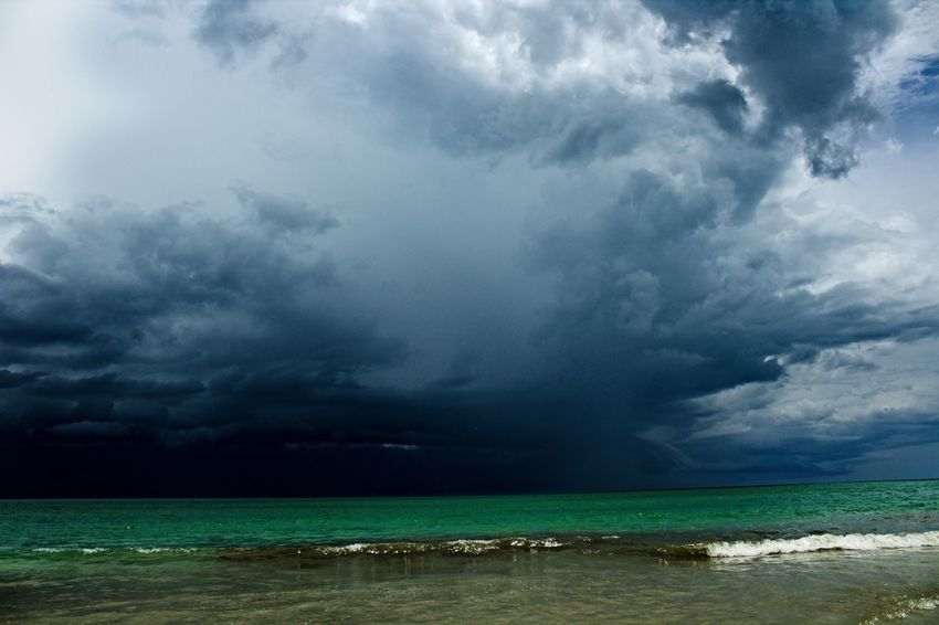 Stormy Weather Beach Beauty In Nature Cloud - Sky Horizon Over Water Nature No People Outdoors Scenics Sea Sky Storm Cloud Thunderstorm Tropical Storm Water Wave