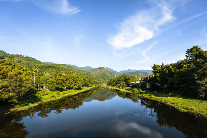 Beauty In Nature Cloud Cloud - Sky Day Green Color Growth Kiriwong Lake Landscape Morning Morning Light Mountains Nature No People Outdoors River Rock - Object Scenics Sky Stone - Object Sunrise Tranquil Scene Unseen Urban Water