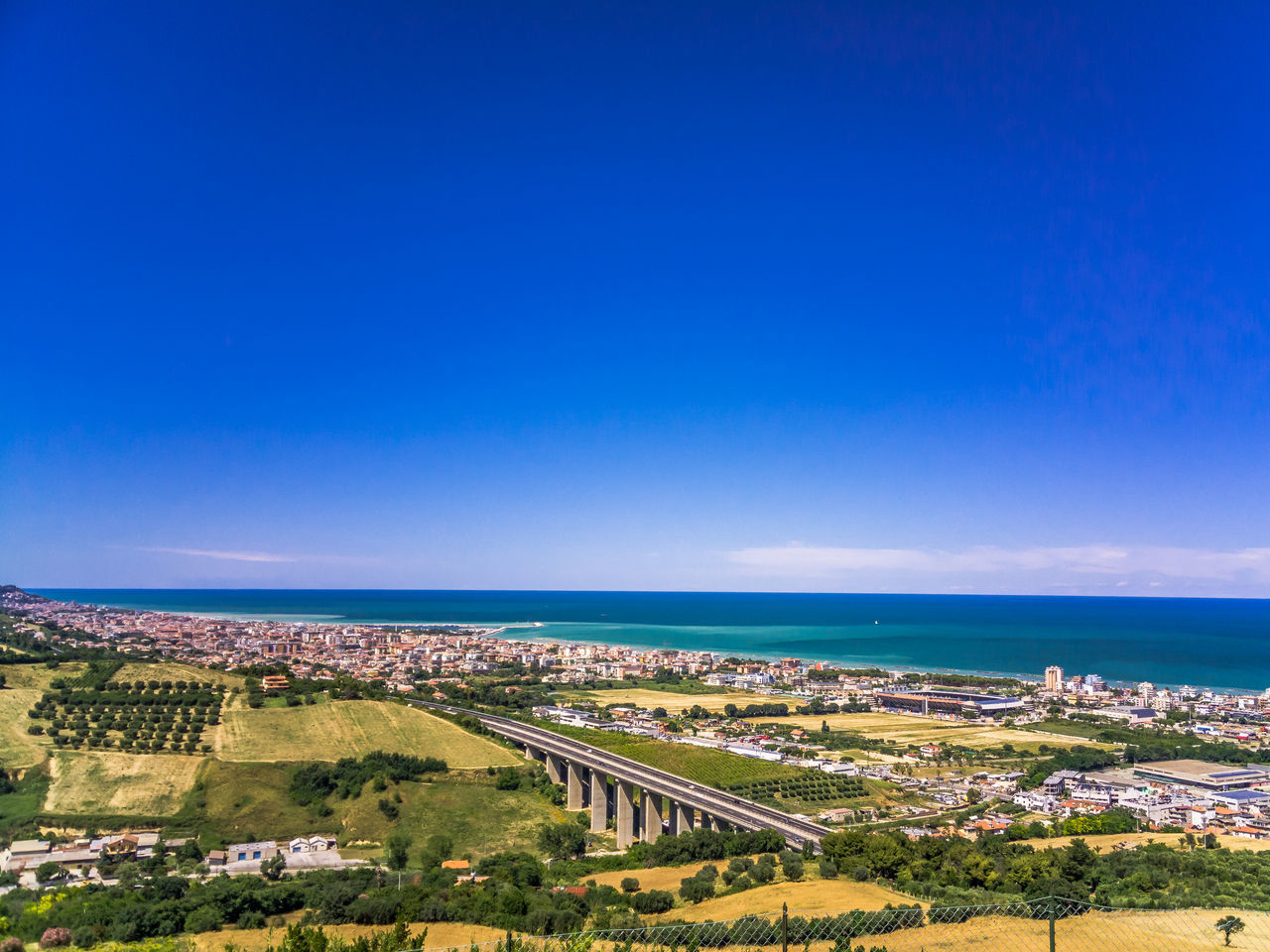 Architecture Beach Beauty In Nature Blue Clear Sky Day High Angle View Hill Hills Horizon Over Water Italian Landscapes Landscape Landscape_Collection Midday Nature No People Outdoors San Benedetto Del Tronto Scenics Sea Sky Sunlight Tranquility Travel Destinations Water