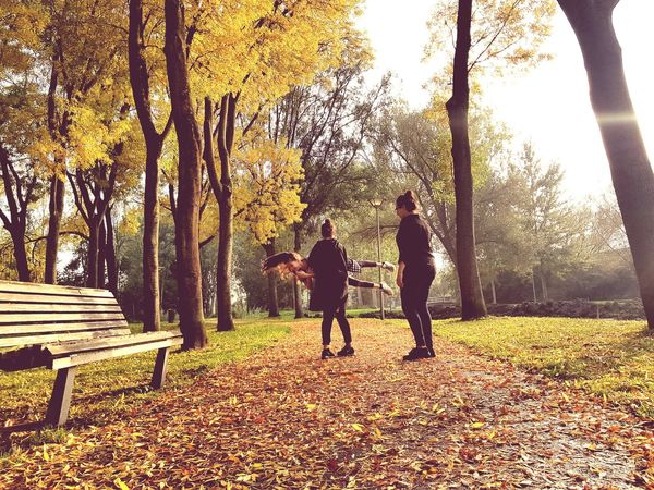 live your life to the fullest♡ Tree Walking Togetherness Full Length Nature People Park - Man Made Space Real People Men Leaf Leisure Activity Autumn Beauty In Nature Playing Having Fun Youth Girls Childhood