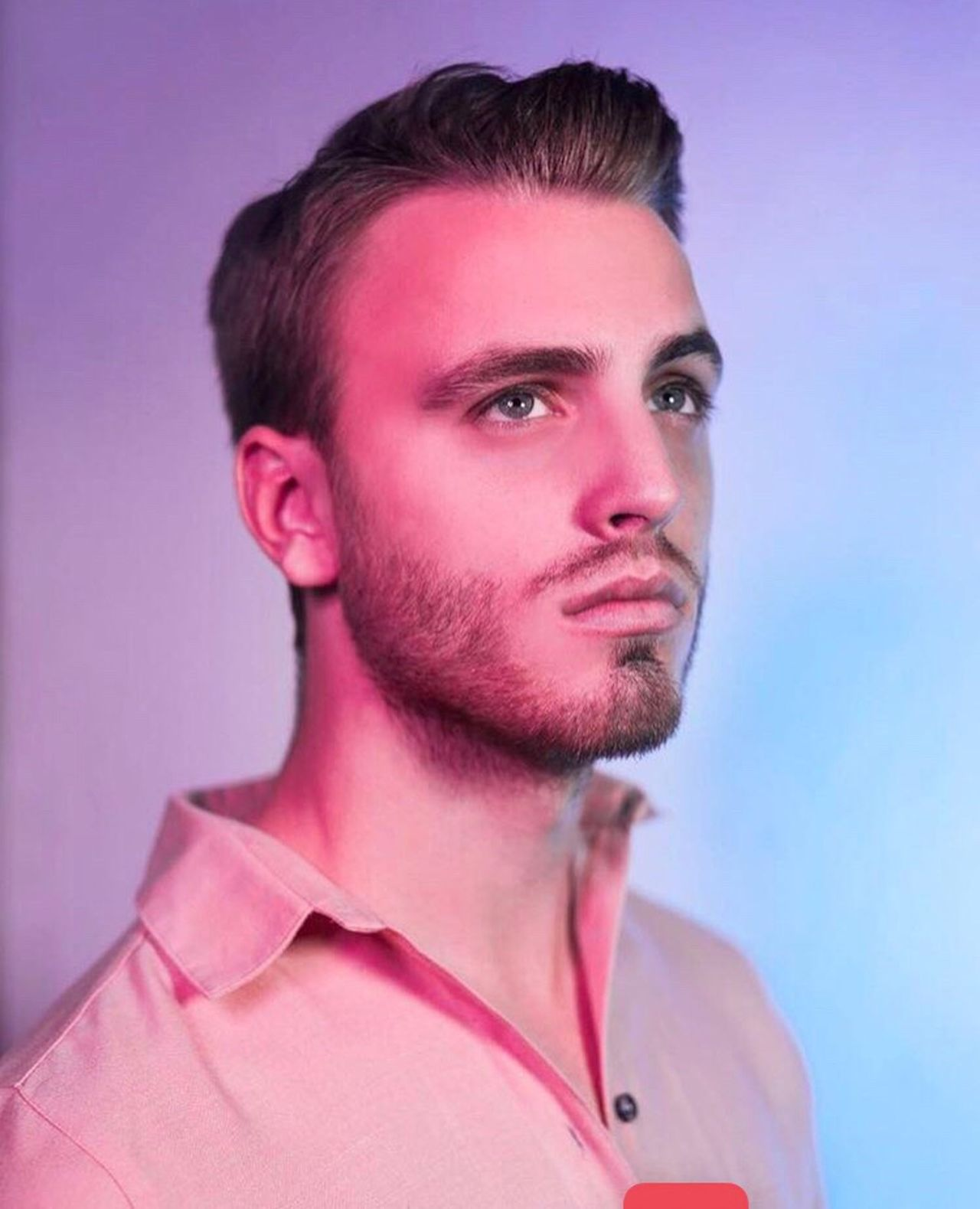 Portrait Pink Color Young Adult Colored Background One Person Close-up Model Studio Shot Man