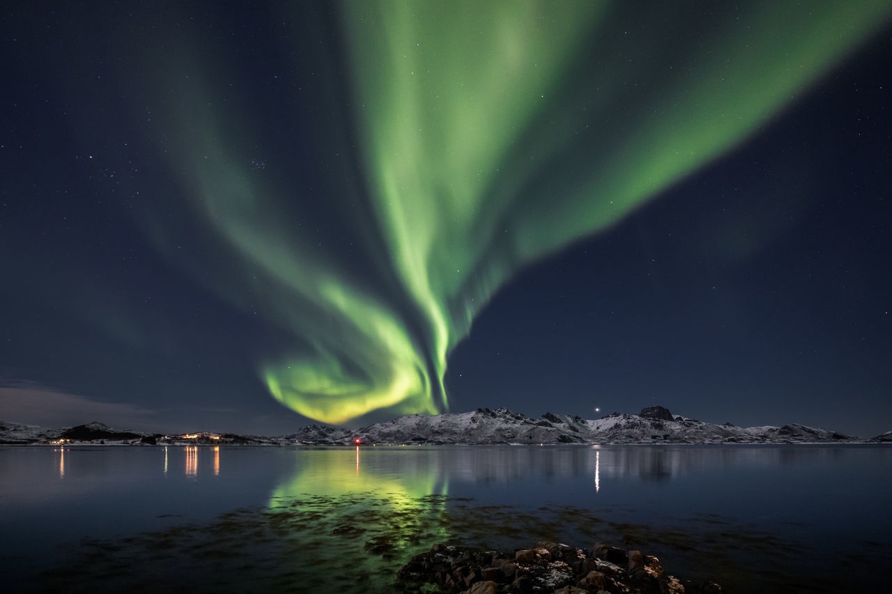 Astronomy Aurora Borealis Aurora Polaris Awe Beauty In Nature Dramatic Sky Galaxy Green Color Idyllic Illuminated Lightning Luminosity Natural Phenomenon Nature Night Northern Lights Norway Outdoors Sky Space And Astronomy Star - Space Travel Destinations Vesterålen Water Winter