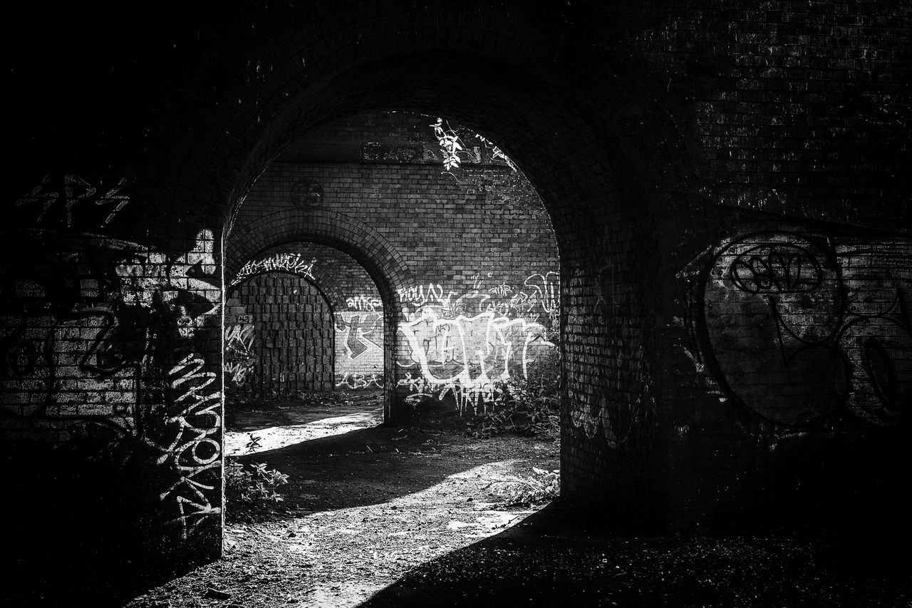 Ancient Arch Architecture Archway Black & White Black And White Black And White Photography Blackandwhite Blackandwhite Photography Blackandwhitephotography Built Structure Cellar Darkness Darkness And Light Day Decay Graffiti Indoors  Medieval No People Tunnel Urban Urban Exploration Urbanphotography Urbex