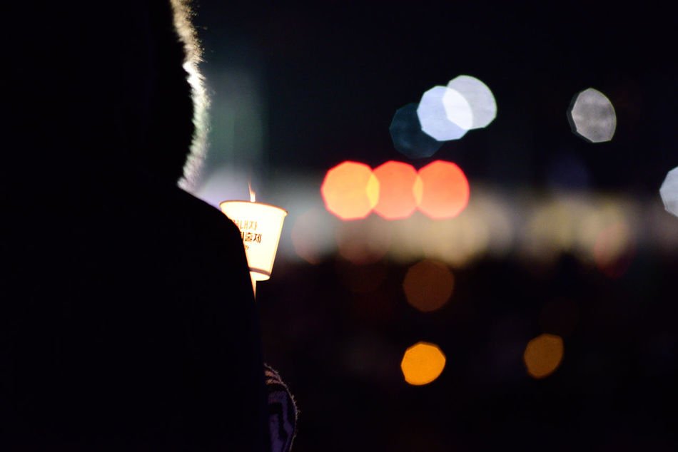 One Person Night Real People Light Effect Outdoors City Large Group Of People For Korean Democracy Event Crowd Urban Exploration Candle Light