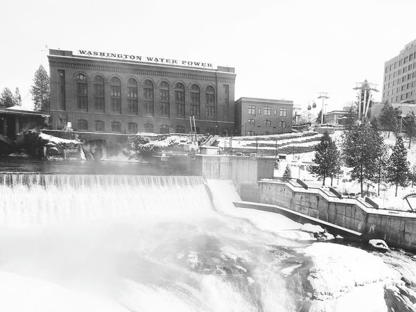 Black & White Black And White Washington State Downtown Snow Spokane Washington Black And White Photography Black And White Collection  Black&white Blackandwhite Photography Bridge Washington Waterfall Spokane River