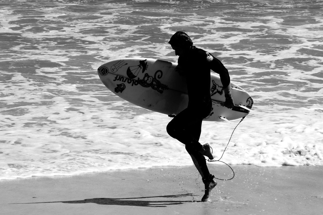 Beach Black And White Bodysuit Foam Jumping Monochrome Monochrome Photography Neopren Neoprene Suit Shopping Surfboard Surfer Waves Wetsuit