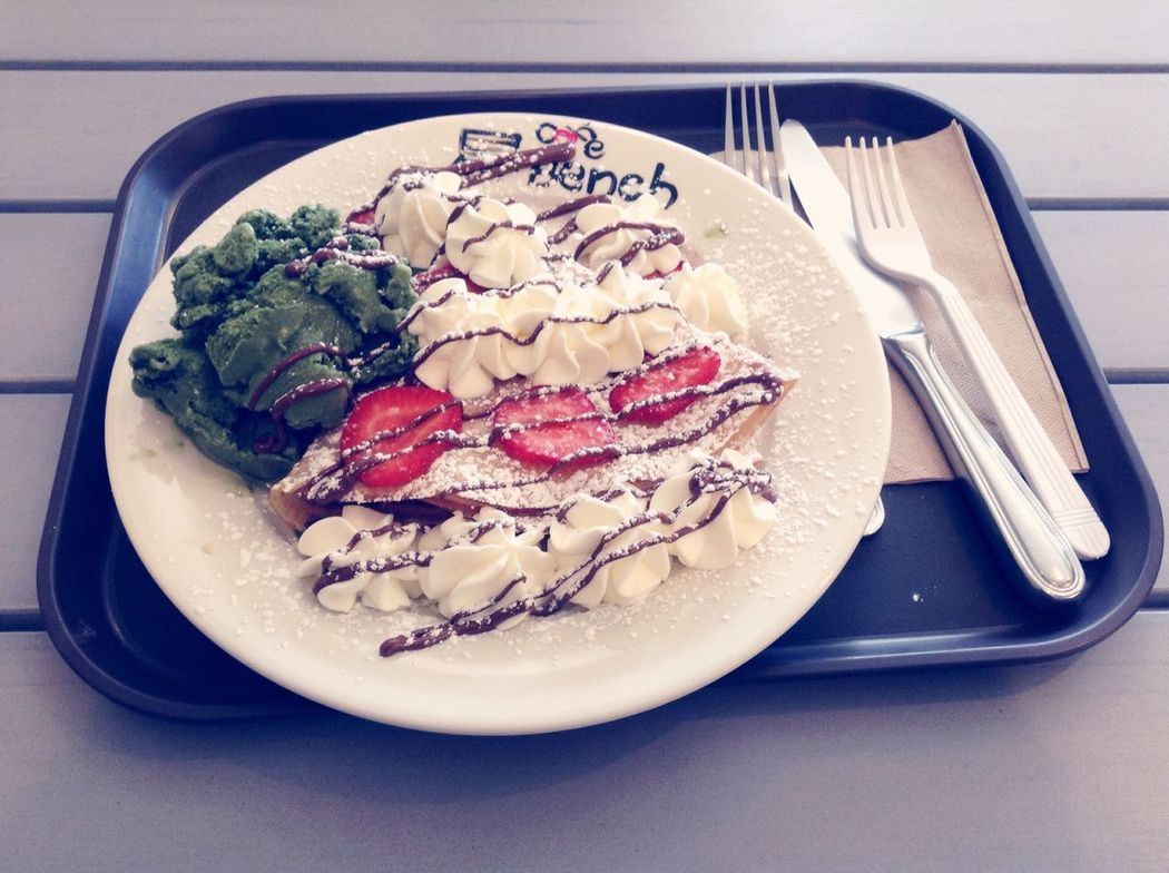 At cafe bench Crepe Green Tea Desserts Sweets Vgvg Socute