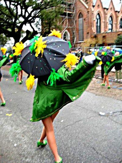 Mardi Gras Dancing Lady Green Coat Green Parade Umbrella People From Behind Pretty Green Green Green!  Colors