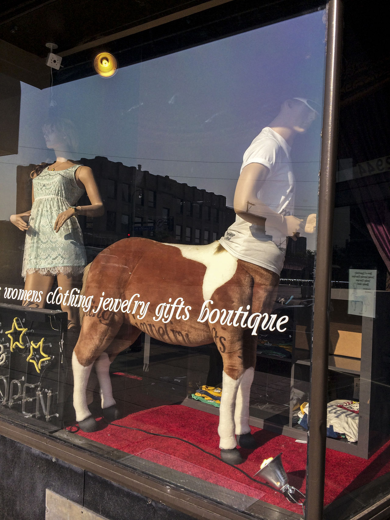 Boutique Business Casual Clothing Clothing Full Length Half Horse/half Lyndale Mannequins Minneapolis Shop Window Standing Streetphotography T-shirt