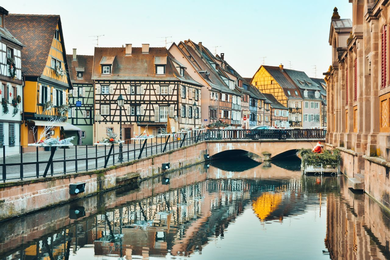 My Year My View Built Structure Architecture Building Exterior Water Reflection Canal Clear Sky Bridge - Man Made Structure City Outdoors Waterfront Connection Day No People Sky Christmas Market Wonderful Travel Destinations Colmar France Christmas Fairytale  Wanderlust Travel