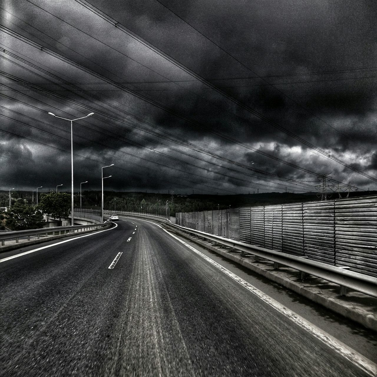 transportation, road, cloud - sky, the way forward, no people, sky, outdoors, street light, cable, nature, day, electricity pylon, scenics, storm cloud