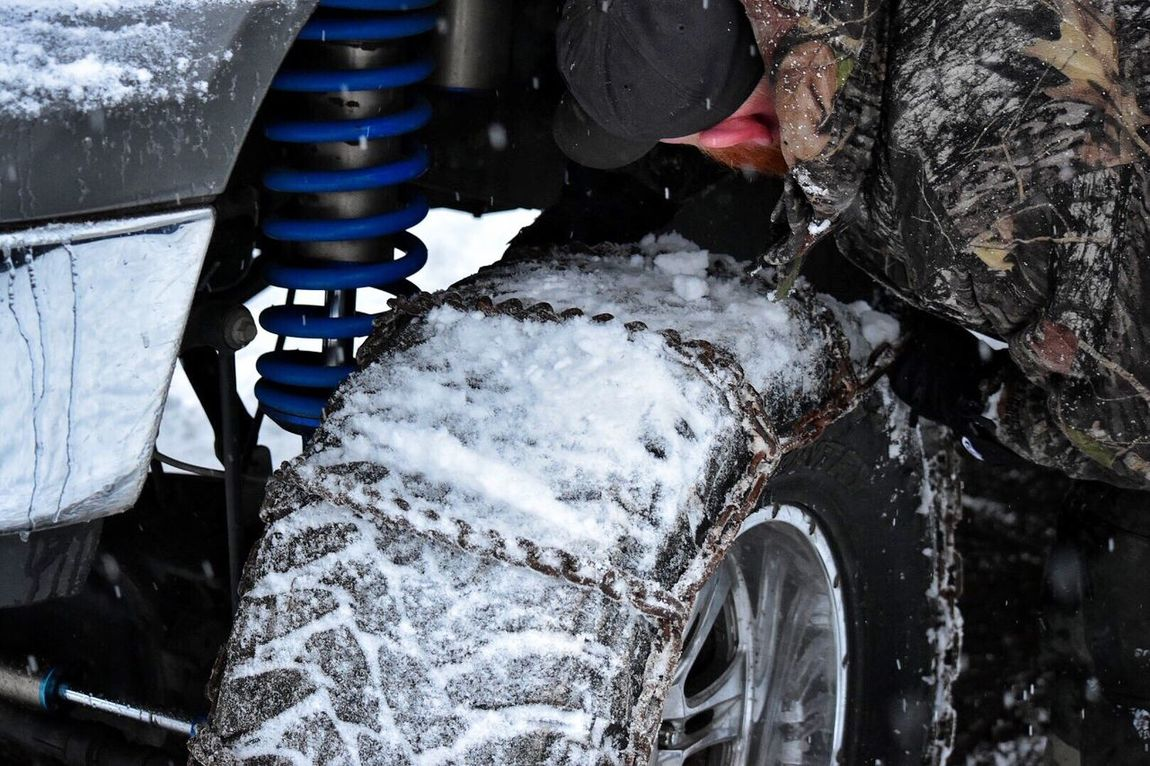Winter Cold Temperature Snow Water Outdoors Close-up Day No People Tires Wheel Transportation Mode Of Transport Tire Chains Traction Truck Snow ❄ Cold Safety Metal Chains Frozen Snow Covered Tire Winter Chains Metal