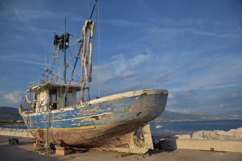 Croatian harbour Nautical Vessel Transportation Mode Of Transport Boat Moored Sea Sky Mast Water Ship Beach Abandoned Sailboat Cloud Shipwreck Calm Trawler Tranquility Shore Tranquil Scene