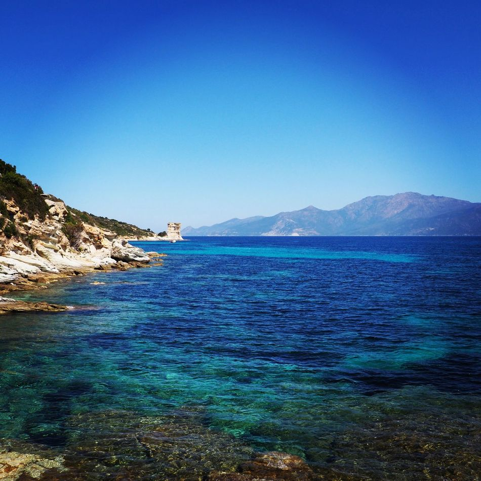 Tour de la Mortella Blue Beauty In Nature Nature Tranquil Scene Sea Tranquility Clear Sky Water No People Day Sky Horizon Over Water Corsica Holiday Mediterranean  Cap Corse Corse Sun Beauty In Nature St Florent Sentier Du Littoral