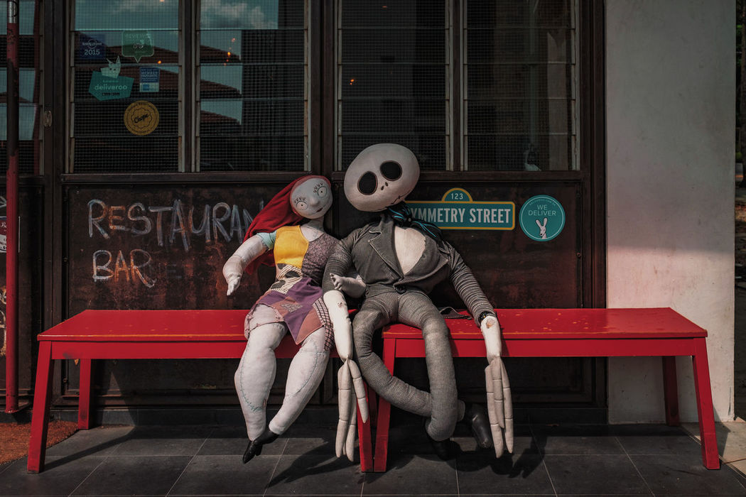 Day Outdoors Dolls Stuffed Toy Red Bench Restaurant Bar Cafe Exterior Decoration Singapore Front View City Street FUJIFILM X-T1 Street Photography Streetphotography Street Art Streetphoto_color Street