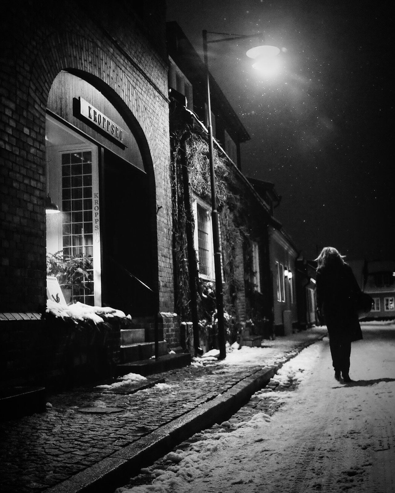 Snow Street Photography Bw_collection Monochrome Winter Black And White Silhouette Darkness And Light