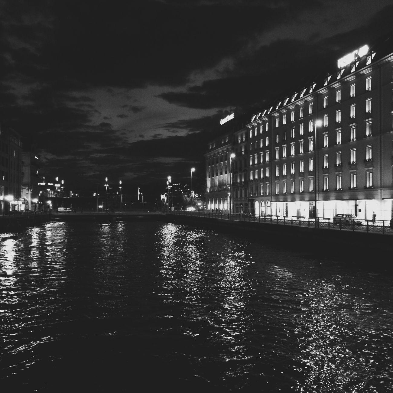 Geneva Geneve Night Night Lights Nightphotography Bridge