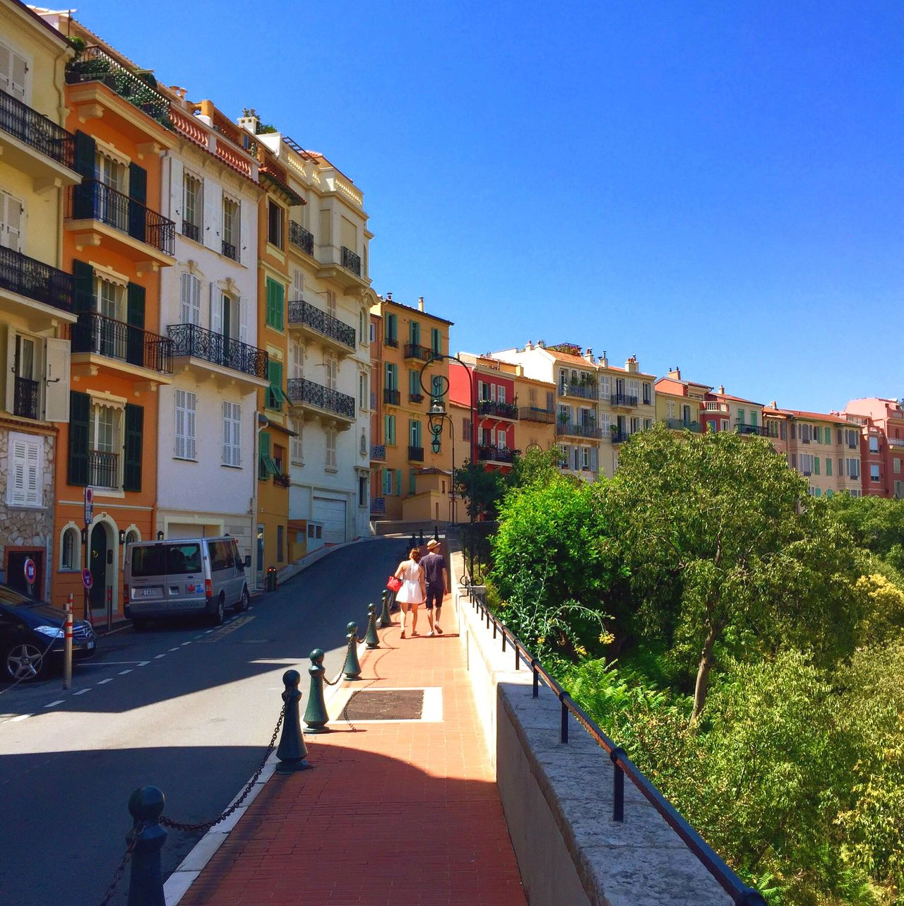 Building Exterior Architecture Built Structure Blue Clear Sky Sunlight Outdoors Real People Tree Sky City Day Nature Color House Holidays Road Monaco Montecarlo France French Principaute