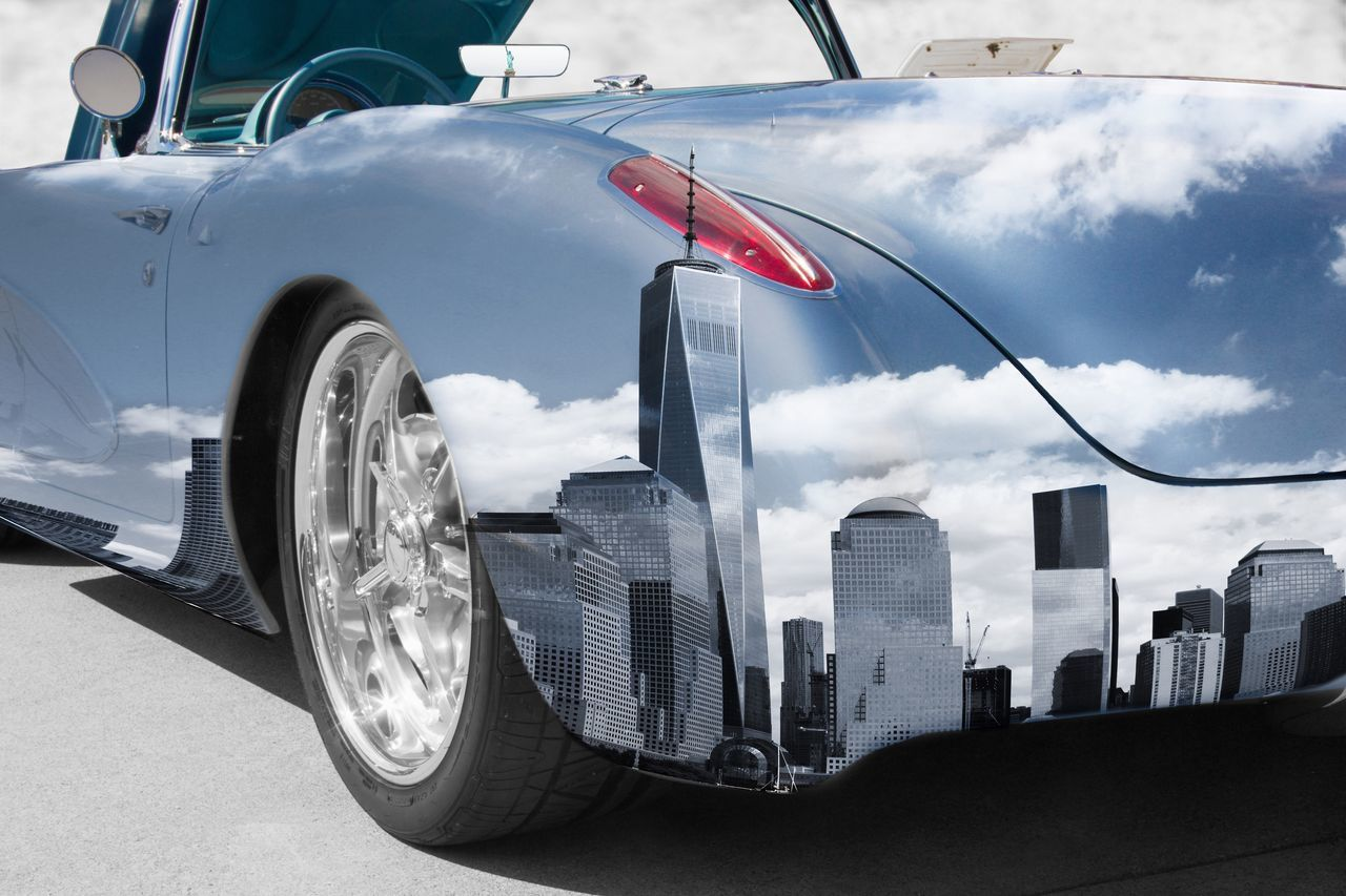 Cut And Paste Car Transportation Mode Of Transport Land Vehicle Outdoors Day No People City Sky My Artwork Edited New York City New York Reflection Reflections
