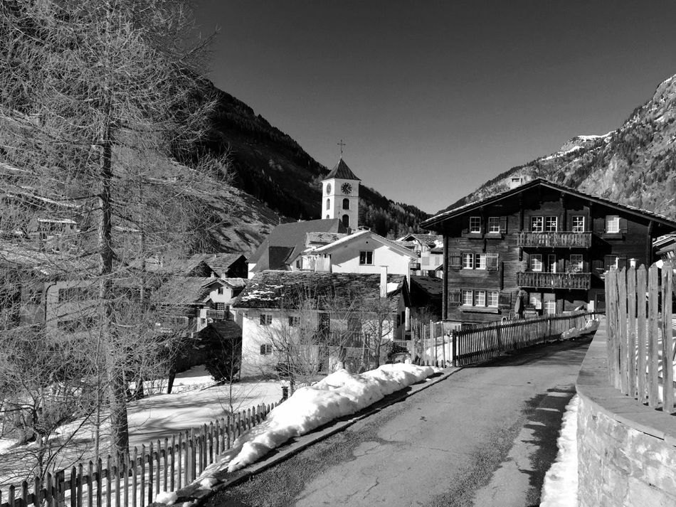 Architecture Blackandwhite Built Structure Clear Sky Mountain No People Outdoors Residential Structure The Way Forward Town Village Walkway