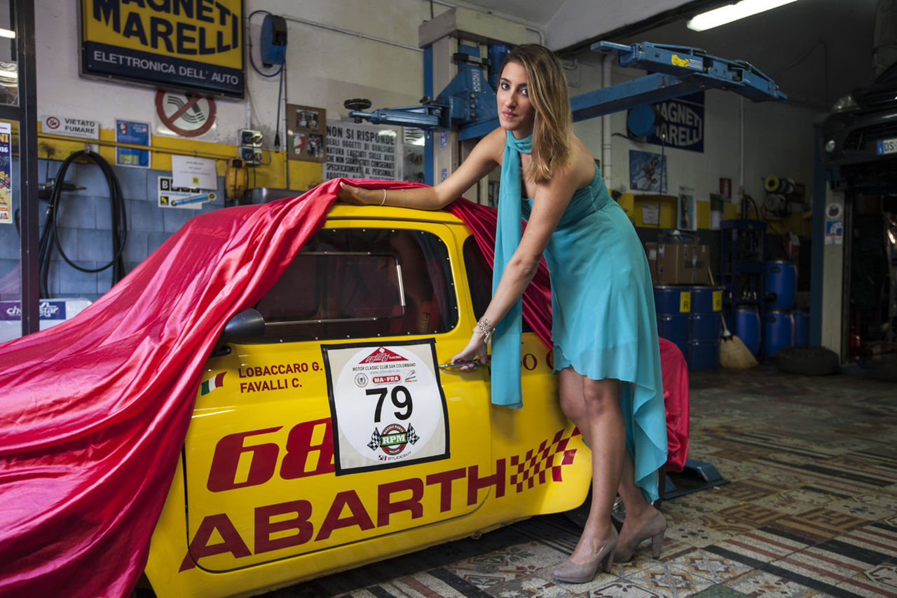 Abarth Car Girl Race Day Small Car Vintage Car Yellow Yellow Car