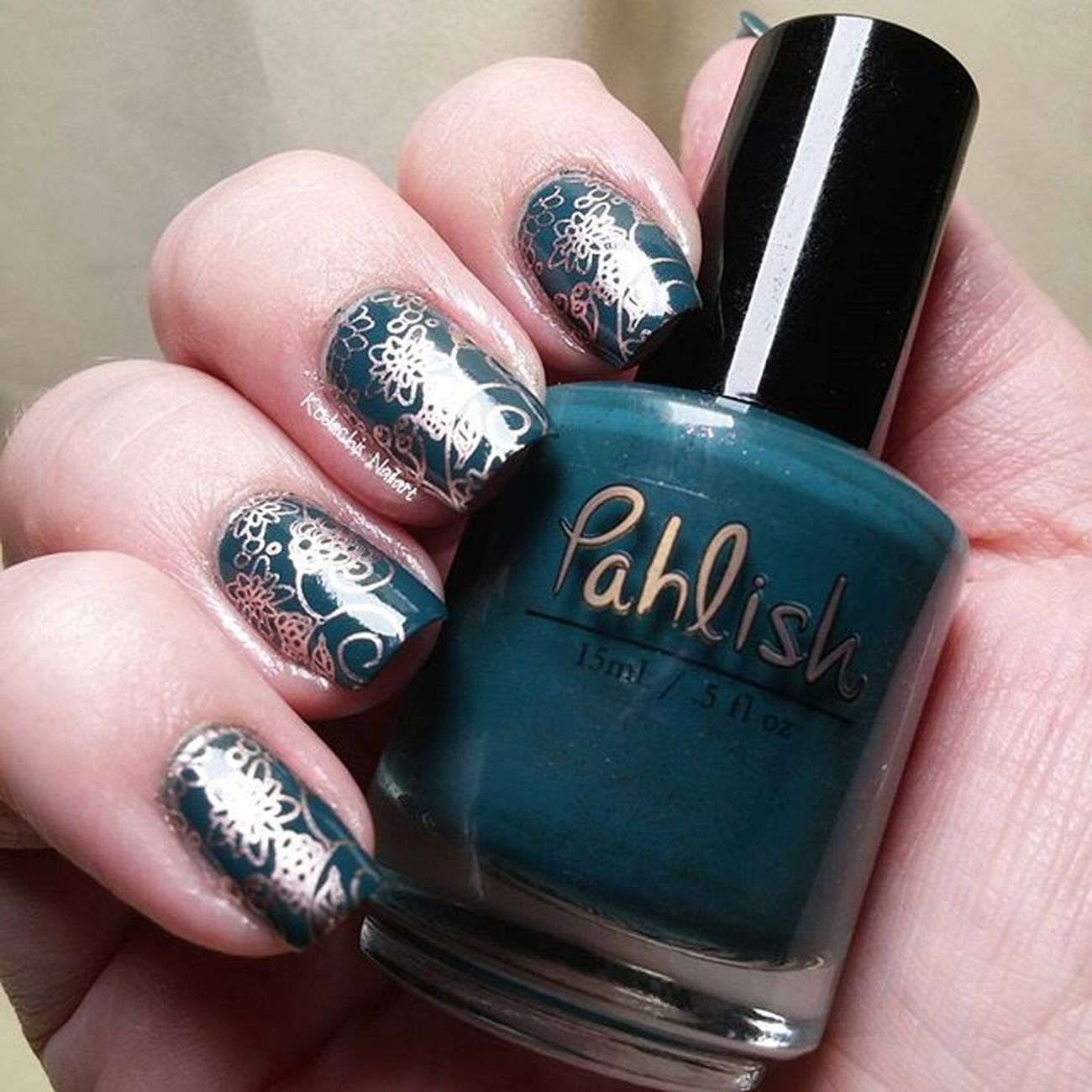 Day 15 - delicate print 31dc2015 used Pahlish - This song is ending, Essie penny talk and Uberchicbeauty plate Itrustindiepolish