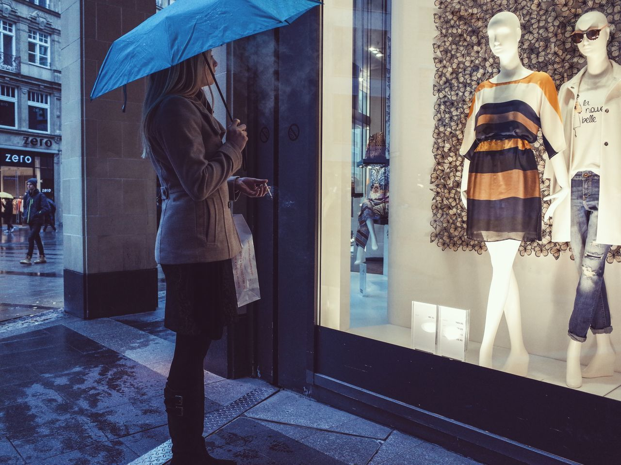 retail, window, rear view, store, store window, real people, for sale, lifestyles, hanging, women, day, full length, one person, outdoors
