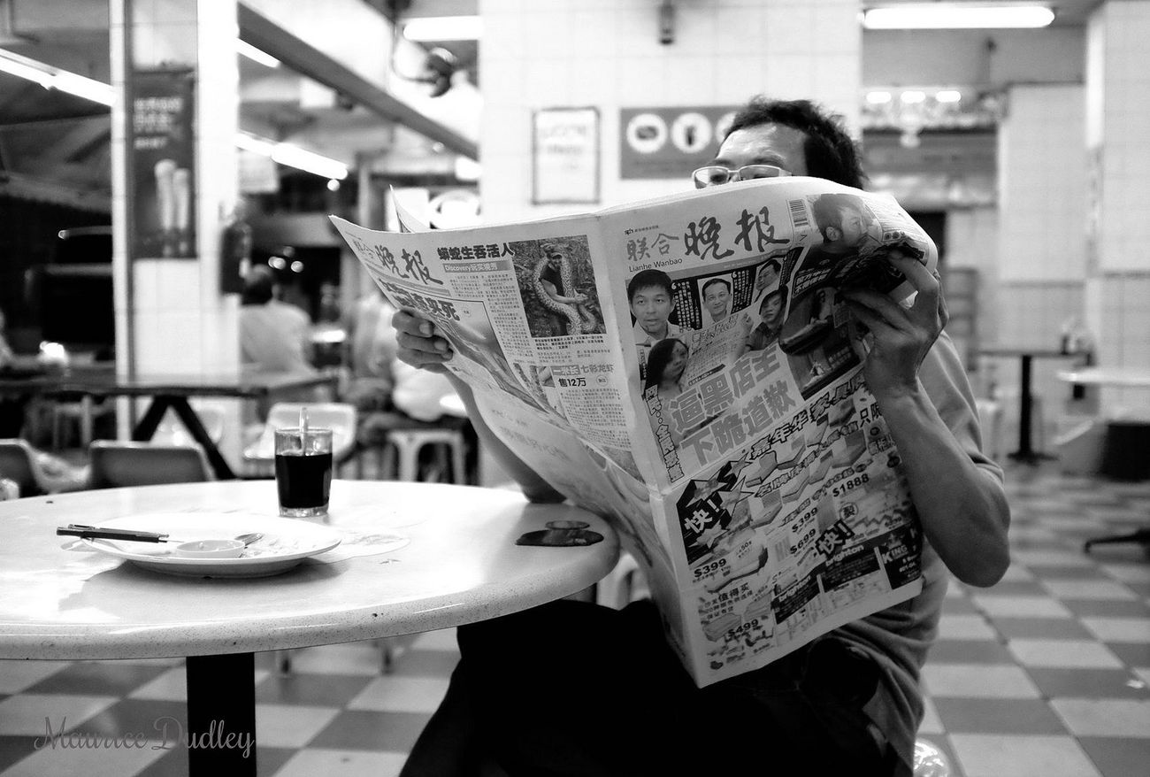 Everyday Lives Chinatown Singapore Fujifilm X100S Hawker Centre ASIA Reading A Newspaper Street Photography B&w Street Photography