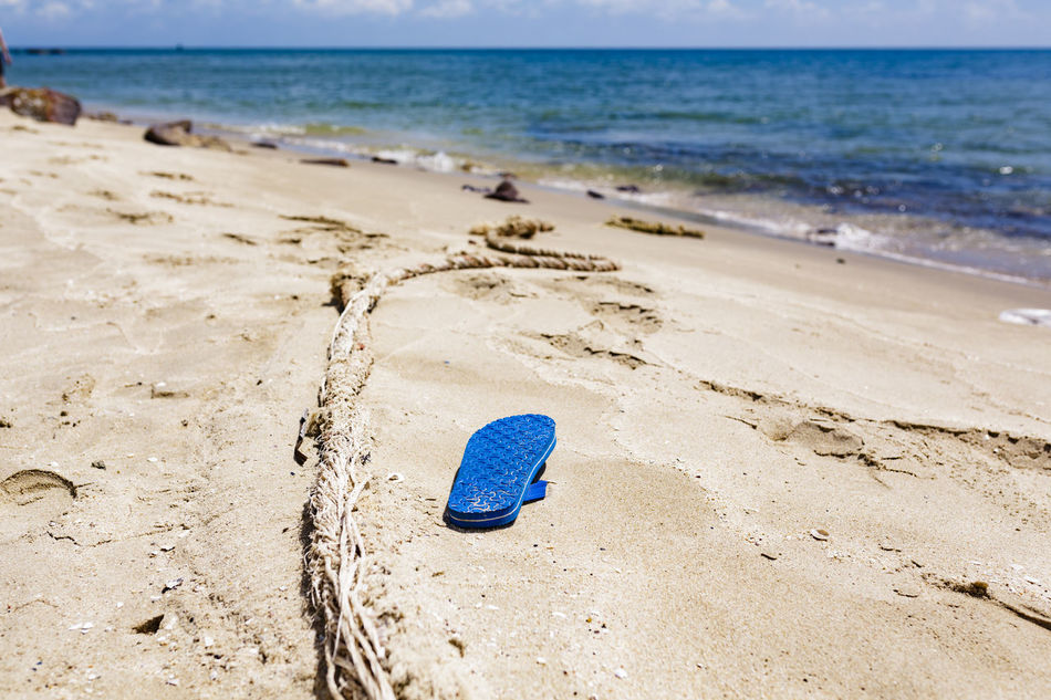 Lost Beach Beauty In Nature Blue Blue Shoes Eye4photography  EyeEm Best Shots EyeEm Gallery EyeEm Nature Lover EyeEmBestPics Horizon Over Water Missing Missing You Nature No People Ocean Oceanside Outdoors Sand Sand Pail And Shovel Sea Water