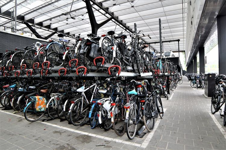 Architecture Bicycle Bicycle Rack Built Structure Cycling Day Europe Green Mobility Indoors  Land Vehicle Mode Of Transport Motorcycle Netherlands No People Rotterdam Stationary Sustainability Transportation Travel Destinations