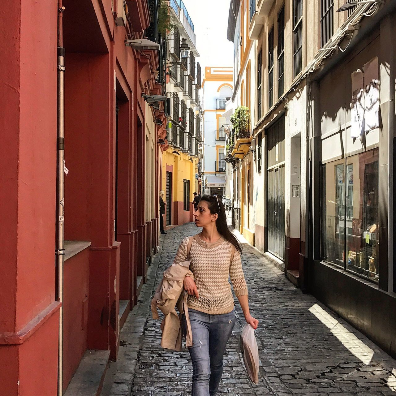 building exterior, two people, architecture, young women, young adult, built structure, casual clothing, outdoors, day, real people, front view, togetherness, smiling, looking at camera, leisure activity, full length, portrait, beautiful woman, women, lifestyles, city, adult, adults only, people