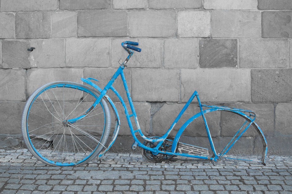 Beautiful stock photos of bike, Bicycle, Blue, Broken, Cobblestone