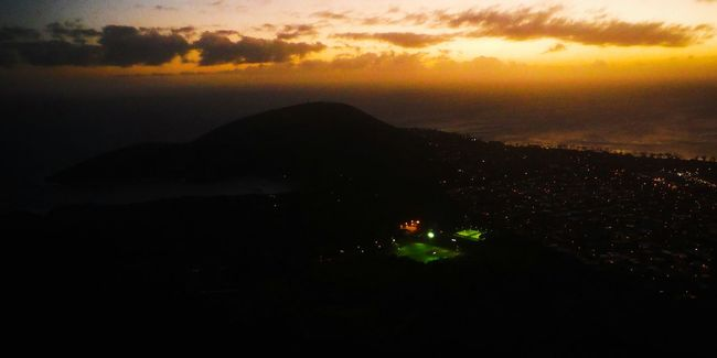 Nighttime football anyone? ⚽ Oahu, Hawaii Island Life Soccer Soccer Life Soccer Stadium Soccer Field Soccer ⚽ Islandlife Oahu Hawaii Oahu Hawaii Oahuphotography On Top Of A Mountain On Top Of A Volcano Looking Down Coastline Coast Land And Sea Sunset Orange Glow Sky On Fire Night Lights Night Life Active Lifestyle  Active Life