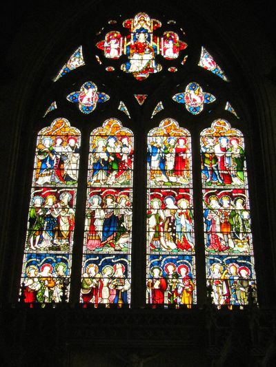 Stained Glass Religion Place Of Worship Window Spirituality Indoors  Multi Colored No People Low Angle View Day Architecture Rose Window