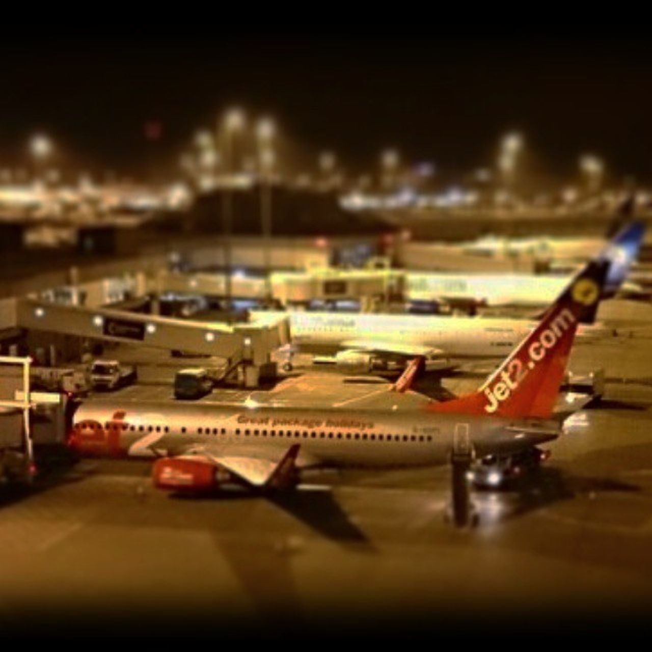Latenight Manchester Toyairport Jet2 Boeing 757 Night Airport