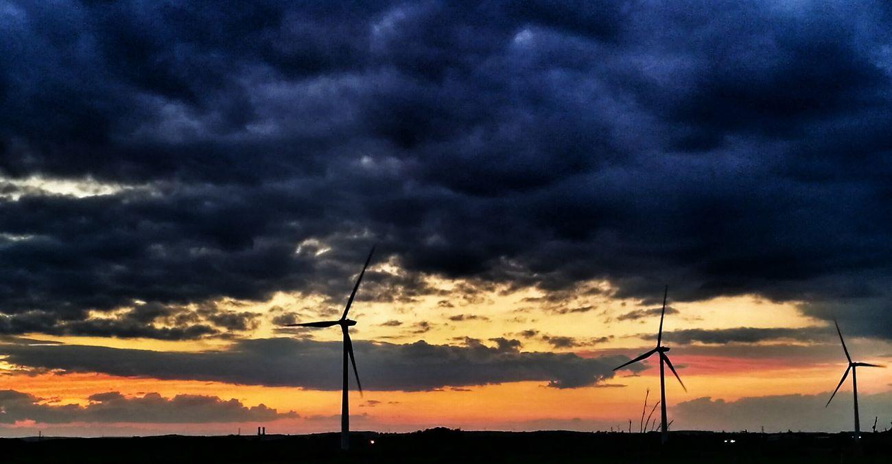 Wind Turbine Sunset Cloud - Sky Sky Orange Color Silhouette Storm Cloud No People Landscape Night Outdoors Scenics Nature Thunderstorm