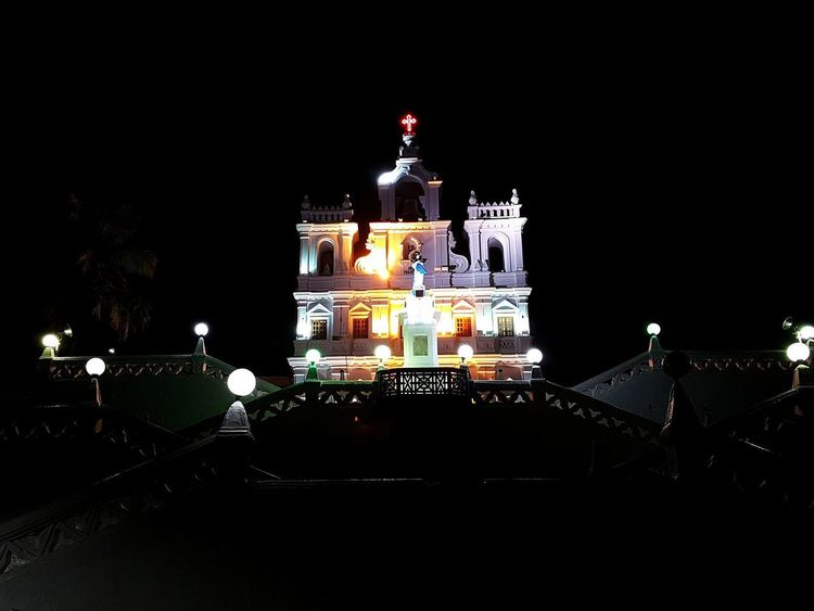 St. Immaculate Church No People Night Patriotism Black Background Building Exterior Architecture City Politics And Government Outdoors Church Goa India Panjim Chuches Nightphotography
