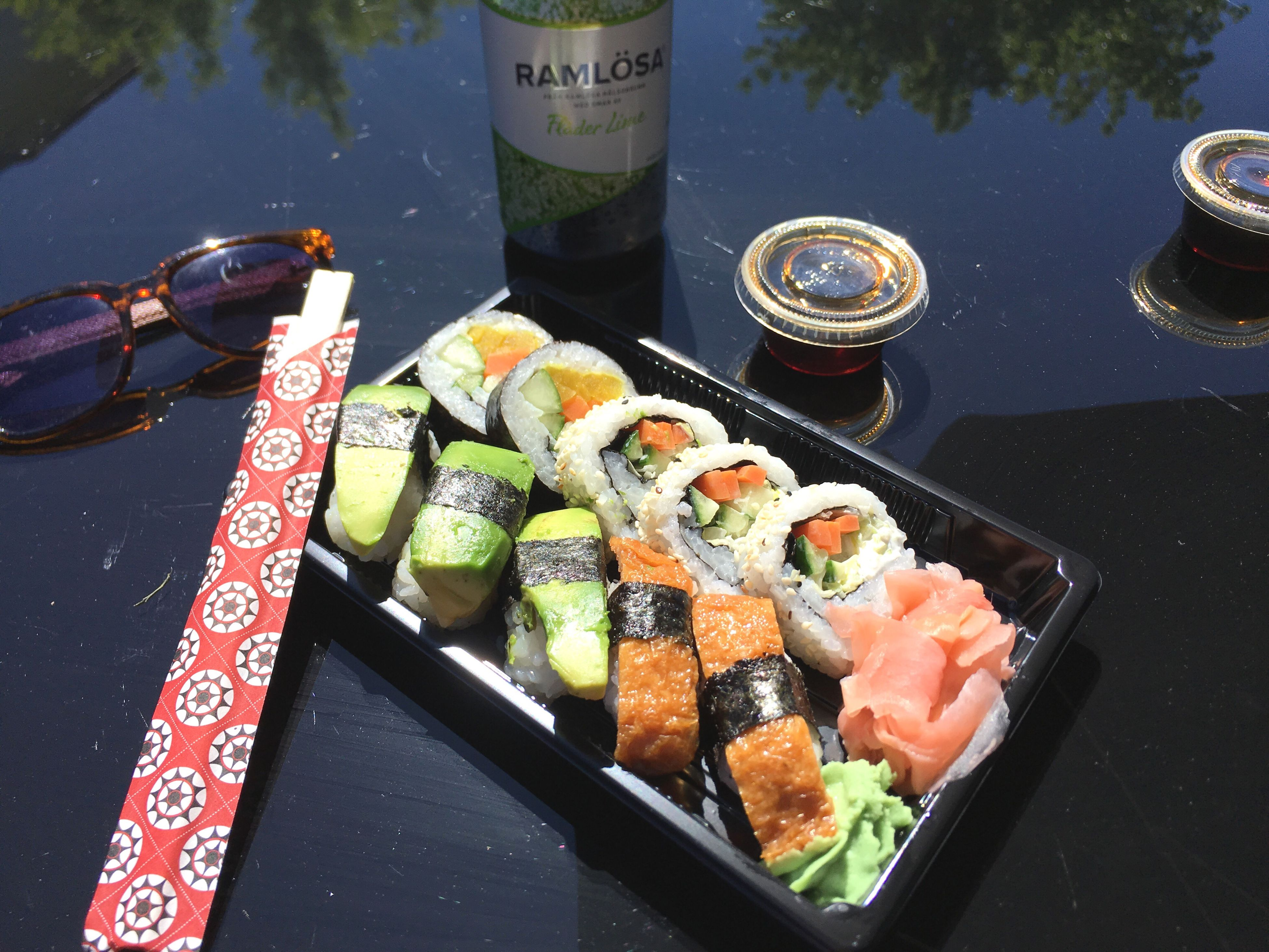 food and drink, japanese food, seafood, food, sushi, plate, high angle view, freshness, no people, healthy eating, chopsticks, day, drink, outdoors, sashimi, close-up, ready-to-eat