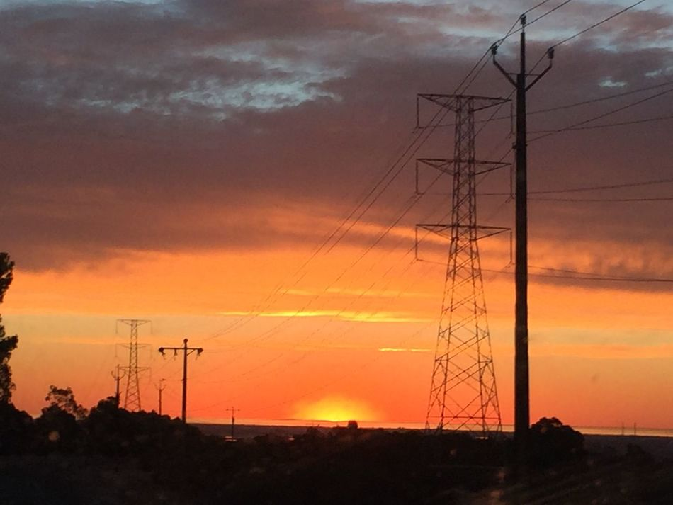EyeEm Nature Lover Mother Nature Taking Photos South Australia Beautiful Sunset_collection Orange Sky Sky_collection Hills Sunset Sunset Collection Power Lines Energy Plant