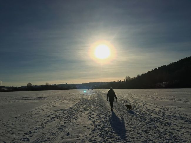 Walking on water 💃🏼☀️❄️ Frozen Lake Frozen Snow Sun Dog Outdoors Norway