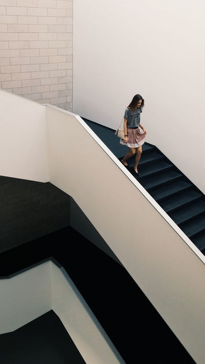Girl Minimalism White PhonePhotography Phoneography Clean Place Model Catch The Moment Running Stairs